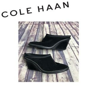 Like New Cole Haan Black Suede Wedge Mules